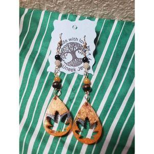 Handmade 420 leaf multi stone Earrings